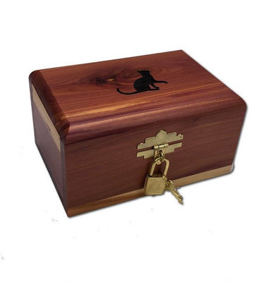 Small Cat Engraved Cedar Chest Urn