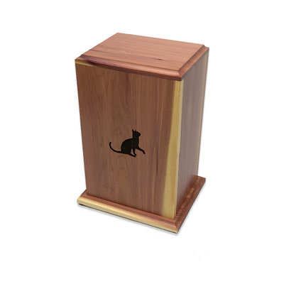 Small Cat Engraved Cedar Tower Urn(1)